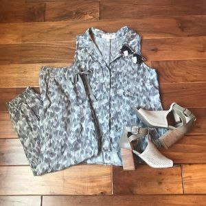 Cloth & Stone Anthro Animal Print Jogger Set